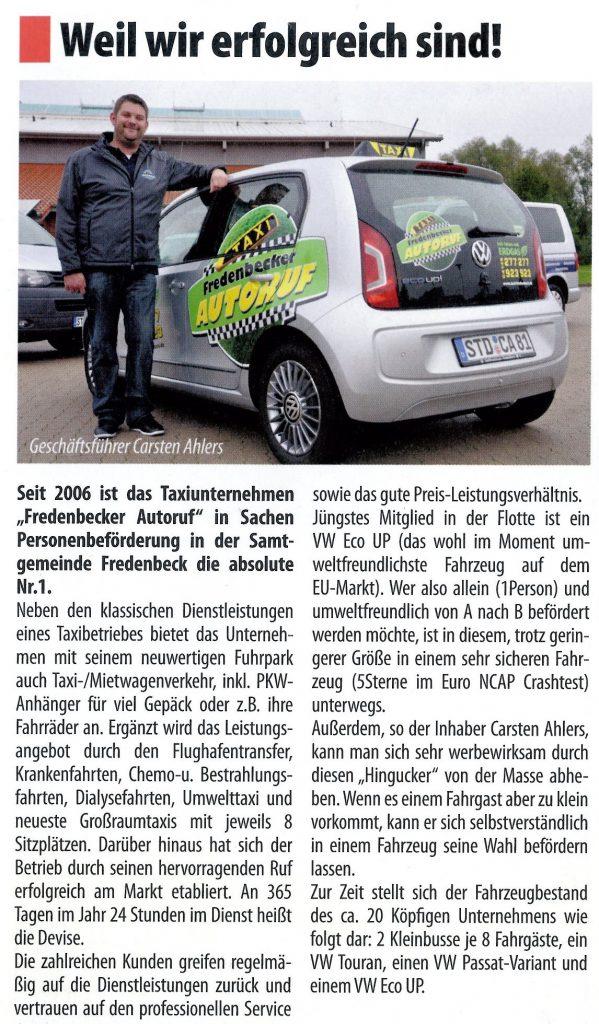 Fredenbecker Blick - Zeitungsartikel vom 25.09.2013 - Weil wir erfolgreich sind - Ihr Fredenbecker Autoruf