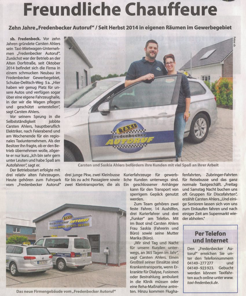 Kreiszeitung Wochenblatt - Zeitungsartikel vom 29.06.2016 - Freundliche Chauffeure - Ihr Fredenbecker Autoruf